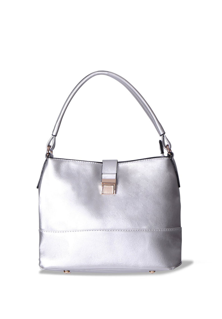 SMB0402-SILVER GOLD CLASP SHOULDER BAG