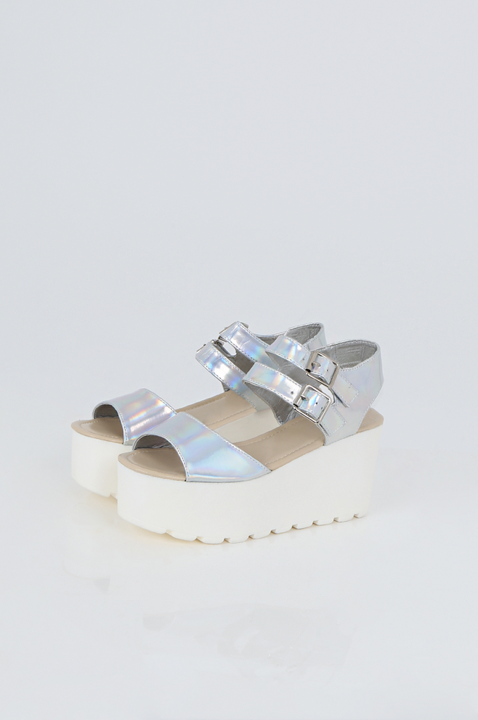 SES2490-SILVER HOLOGRAM BUCKLE ANKLE STRAP PLATFORM SANDALS view main view