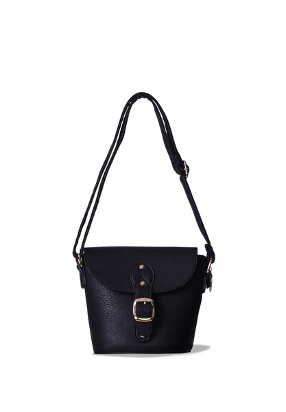 SMB0406-BLACK BUCKLE CROSSBODY BUCKET BAG