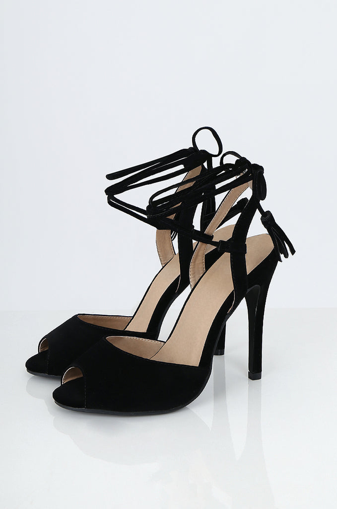 SES2226-BLACK LACE UP OPEN TOE STILETTOS
