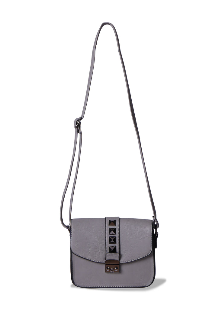 SMB0404-GREY STUDDED CROSSBODY MESSENGER BAG view main view
