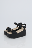 SES2491-BLACK BUCKLE ANKLE STRAP PLATFORM SANDALS