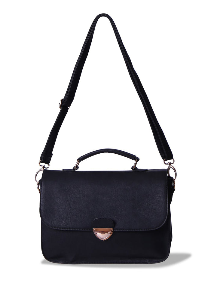 SMB0399-BLACK MEDIUM SATCHEL BAG