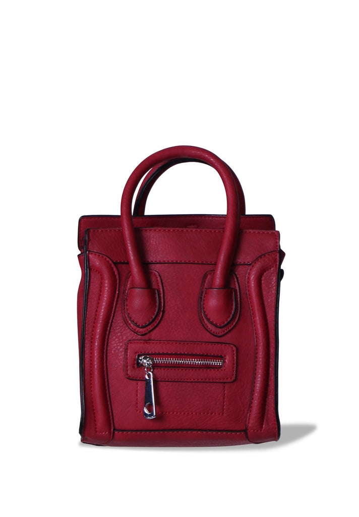 SMB0405-RED MINI TOTE BAG WITH PIPING DETAIL