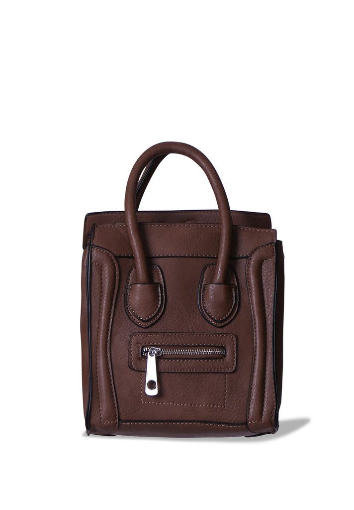 SMB0405-BROWN MINI TOTE BAG WITH PIPING DETAIL