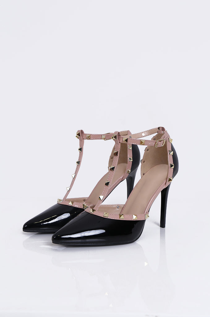 SMY1782-BLACK PATENT STUD ANKLE STRAP STILETTO view main view
