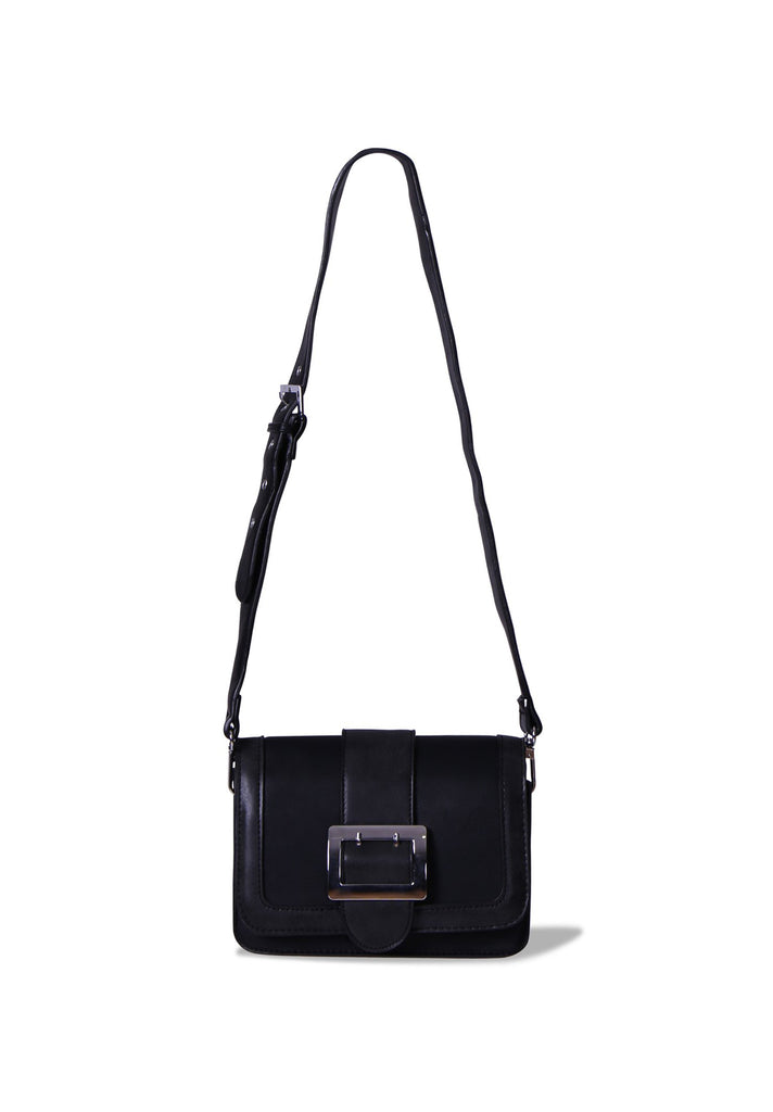 SMB0395-BLACK BIG BUCKLE TWO TONE CROSSBODY BAG