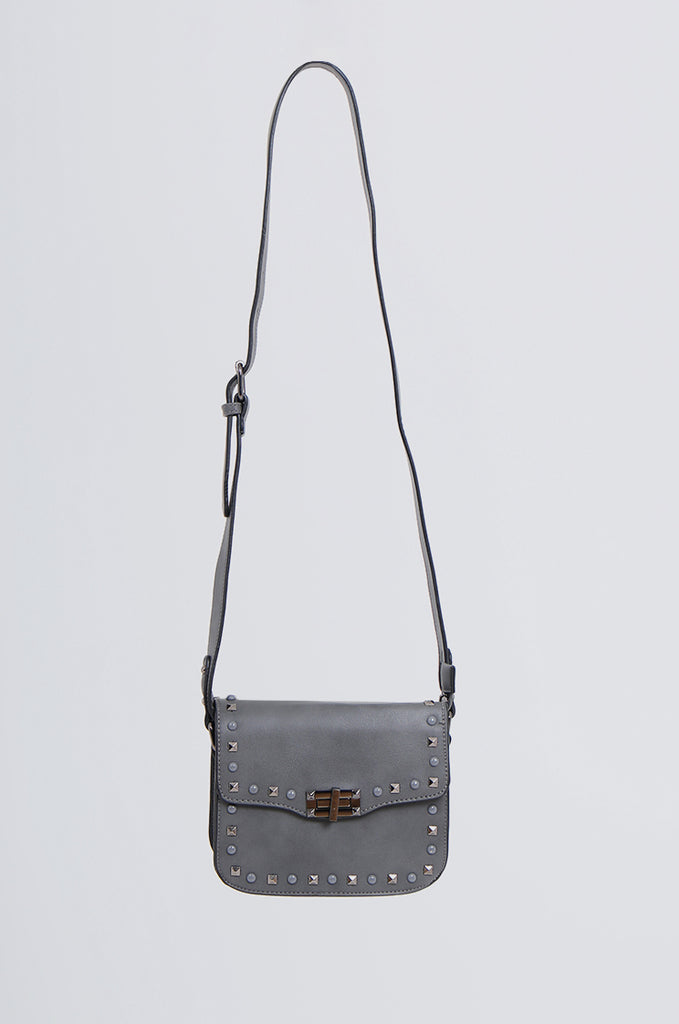 SMB2170-CHARCOAL STUDDED FRONT CROSS BODY BAG