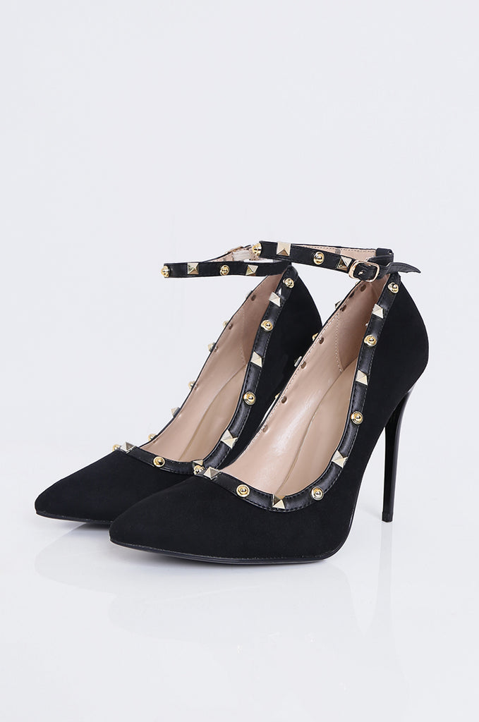 SMY1783-BLACK SUEDETTE STUDDED ANKLE STRAP STILETTO