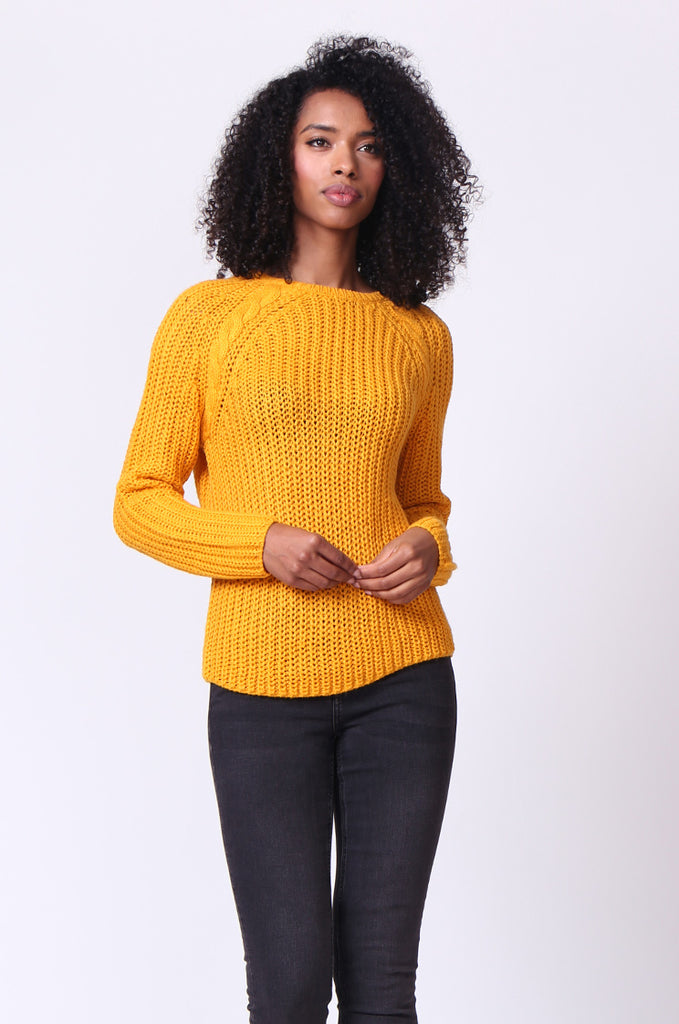 SF0235-MUSTARD CHUNKY CABLE KNIT JUMPER