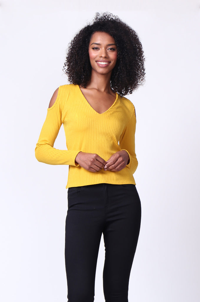 SMU0245-MUSTARD OPEN SHOULDER RIBBED LONG SLEEVE TOP view main view