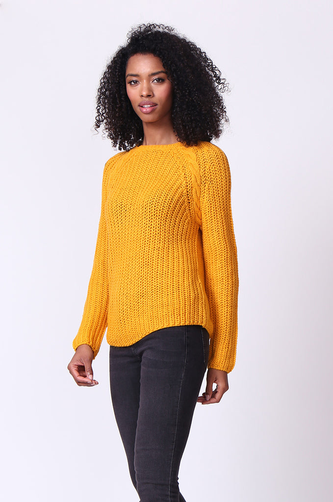 SF0235-MUSTARD CHUNKY CABLE KNIT JUMPER view 2