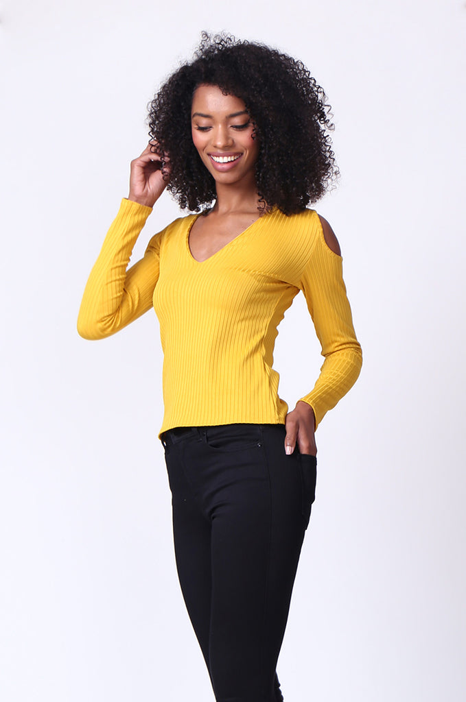 SMU0245-MUSTARD OPEN SHOULDER RIBBED LONG SLEEVE TOP view 2