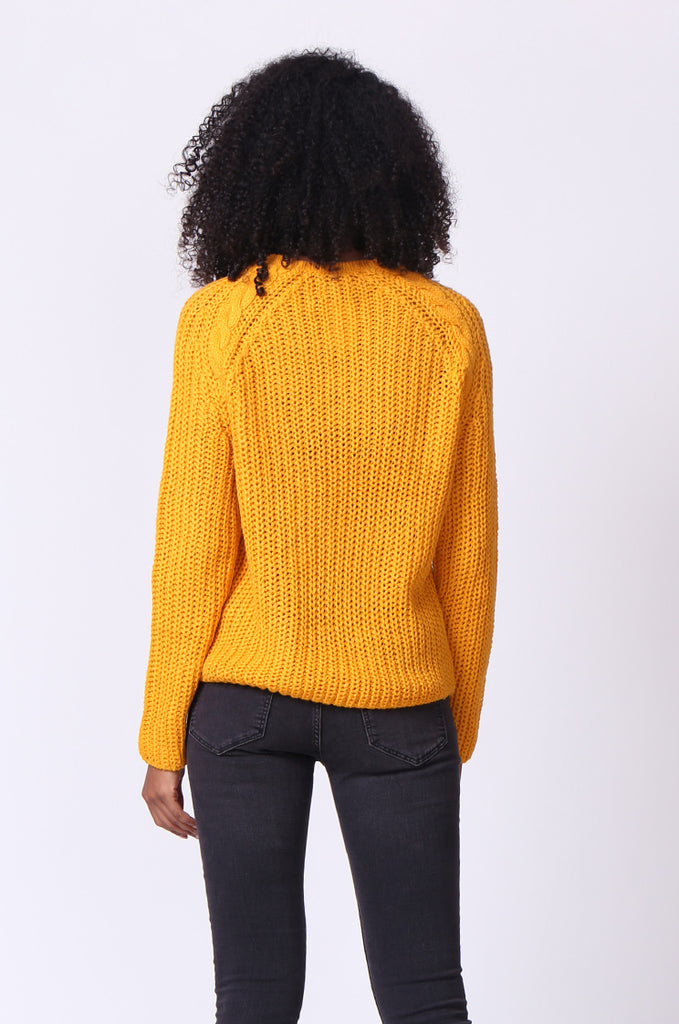 SF0235-MUSTARD CHUNKY CABLE KNIT JUMPER view 3