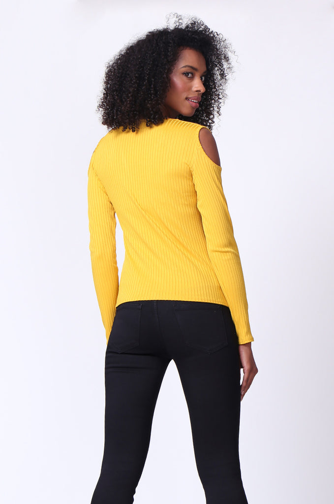 SMU0245-MUSTARD OPEN SHOULDER RIBBED LONG SLEEVE TOP view 3