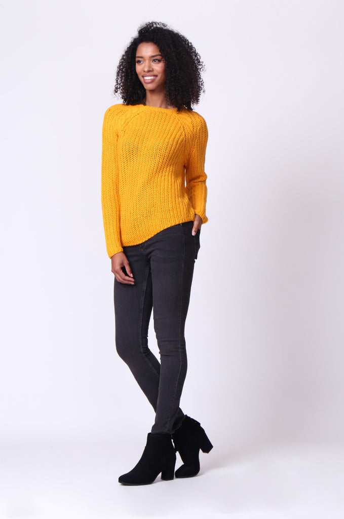 SF0235-MUSTARD CHUNKY CABLE KNIT JUMPER view 4