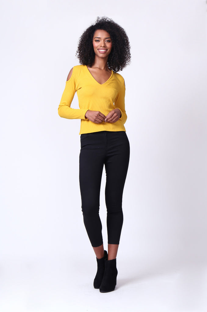 SMU0245-MUSTARD OPEN SHOULDER RIBBED LONG SLEEVE TOP view 4