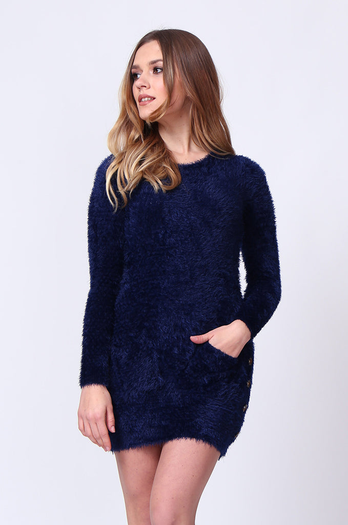 SMT0183-NAVY LONG SLEEVE FLUFFY MINI DRESS