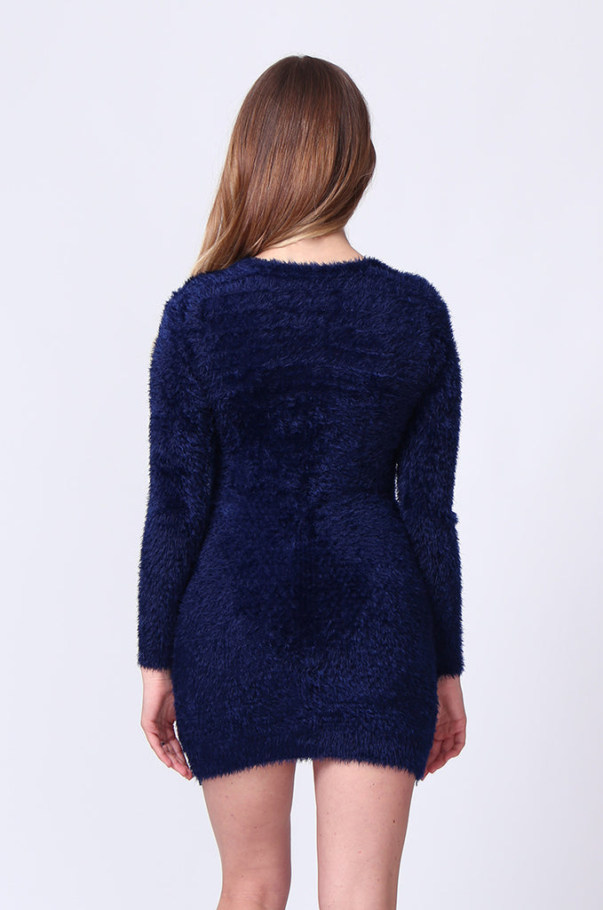 SMT0183-NAVY LONG SLEEVE FLUFFY MINI DRESS view 3