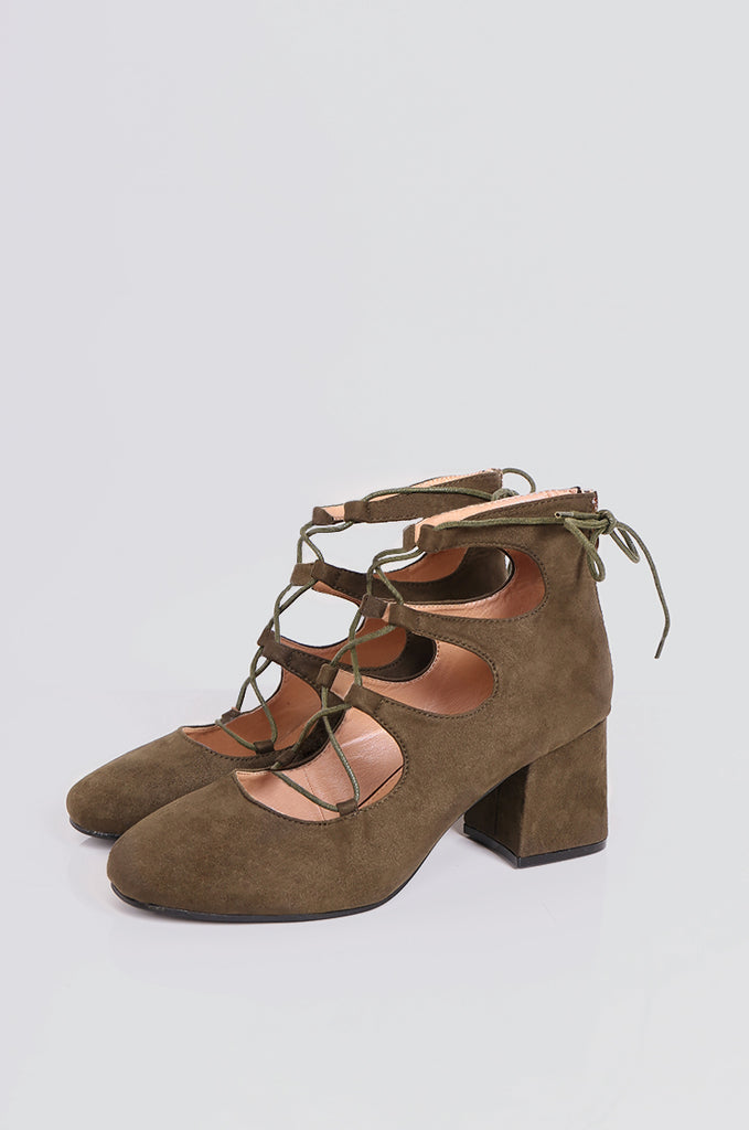 SEW2181-OLIVE LACE UP BLOCK HEELS