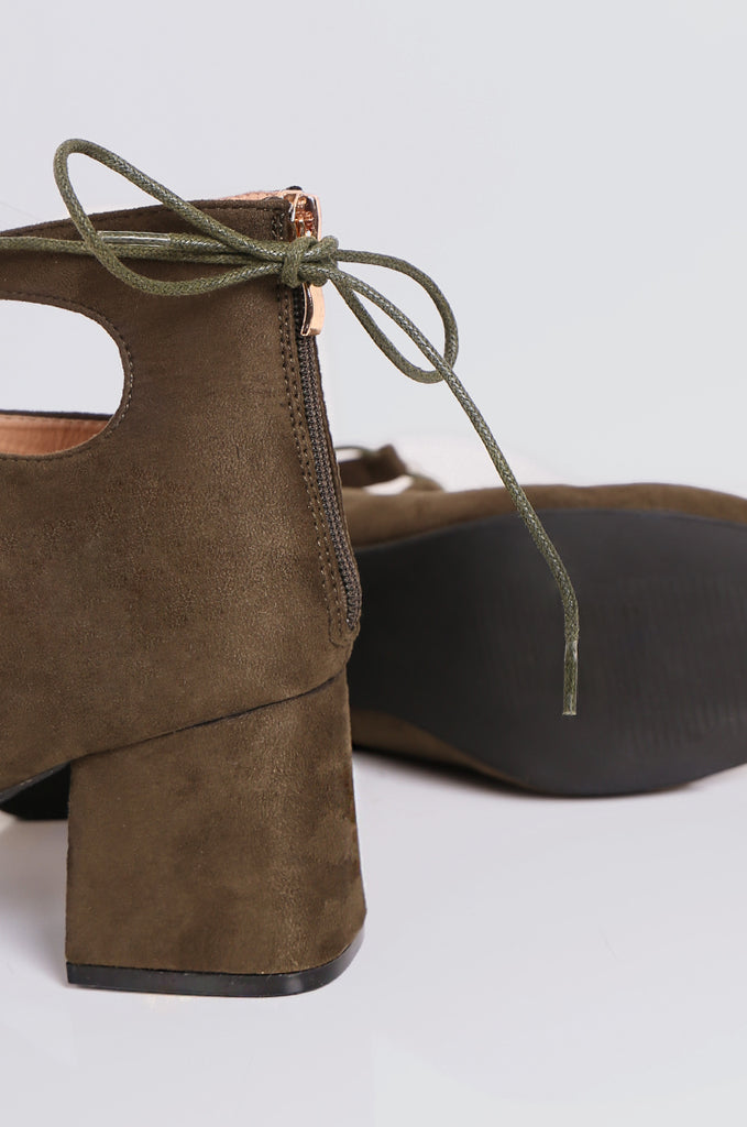SEW2181-OLIVE LACE UP BLOCK HEELS view 4