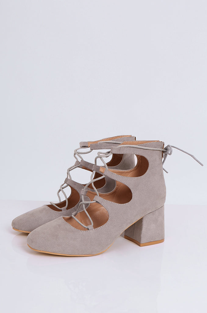 SEW2181-GREY LACE UP BLOCK HEELS