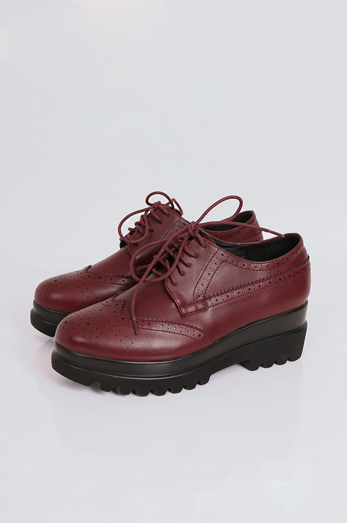 SEW2179-WINE PLATFORM LACE UP BROGUES view main view