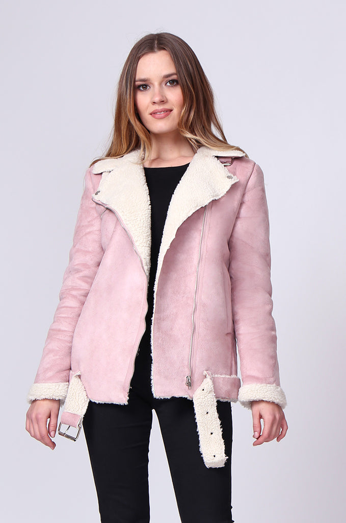 SD0194-PINK SUEDE LONG LINE SHERLING AVIATOR JACKET