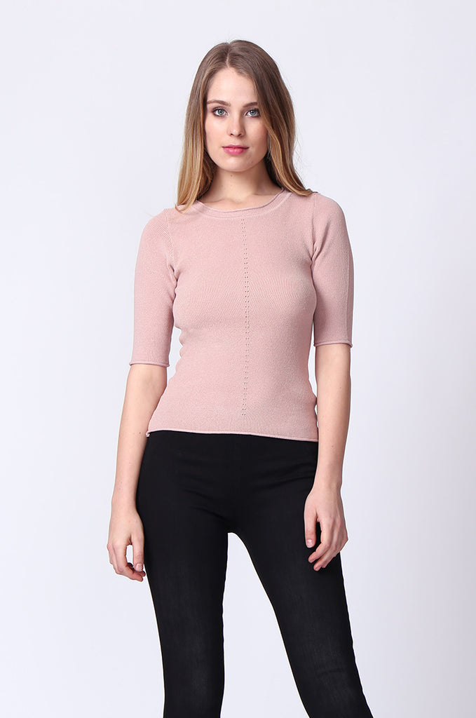 SJ0166-PINK SLEEVE EYELET PANEL CREW NECK TOP view main view