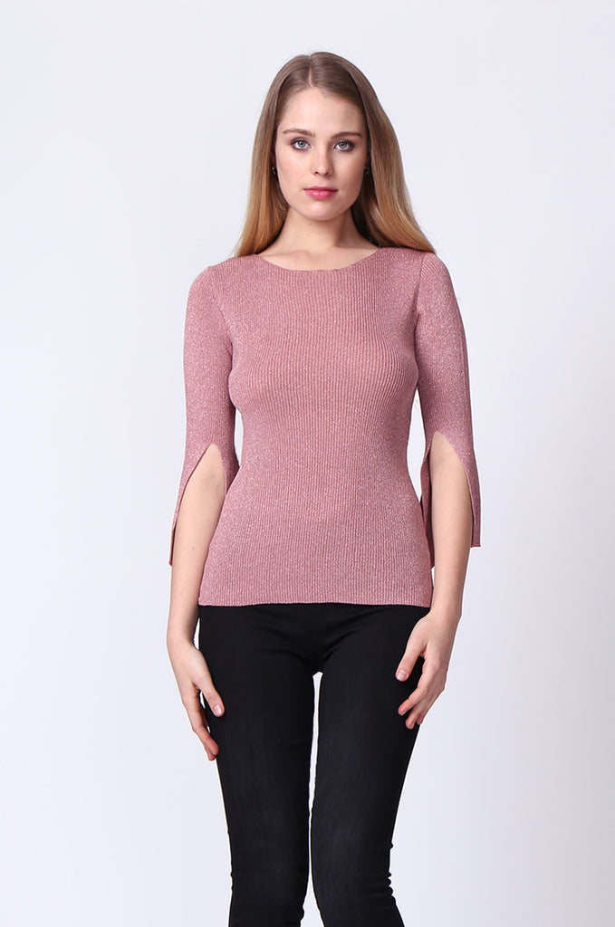 SJ0165-PINK METALLIC FLARE SLEEVE KNIT TOP