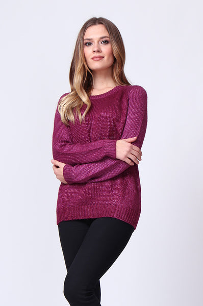 METALLIC LONG SLEEVE CREW NECK JUMPER