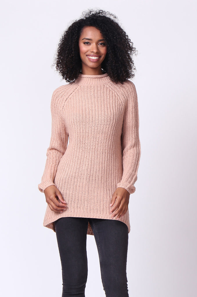 SF0234-TAN CHUNKY ROLL NECK JUMPER