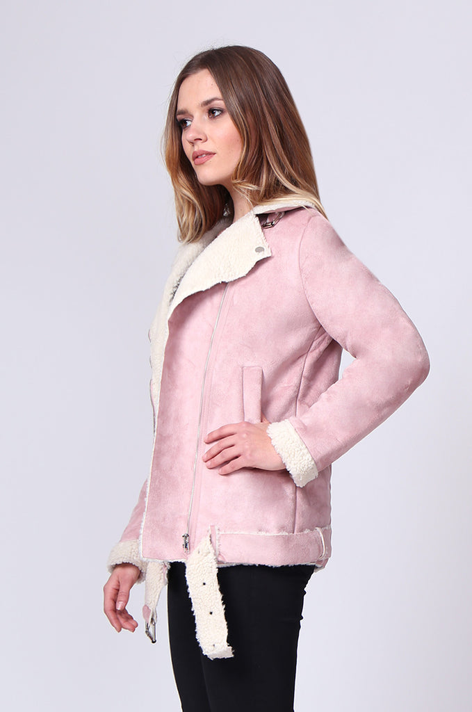 SD0194-PINK SUEDE LONG LINE SHERLING AVIATOR JACKET view 2