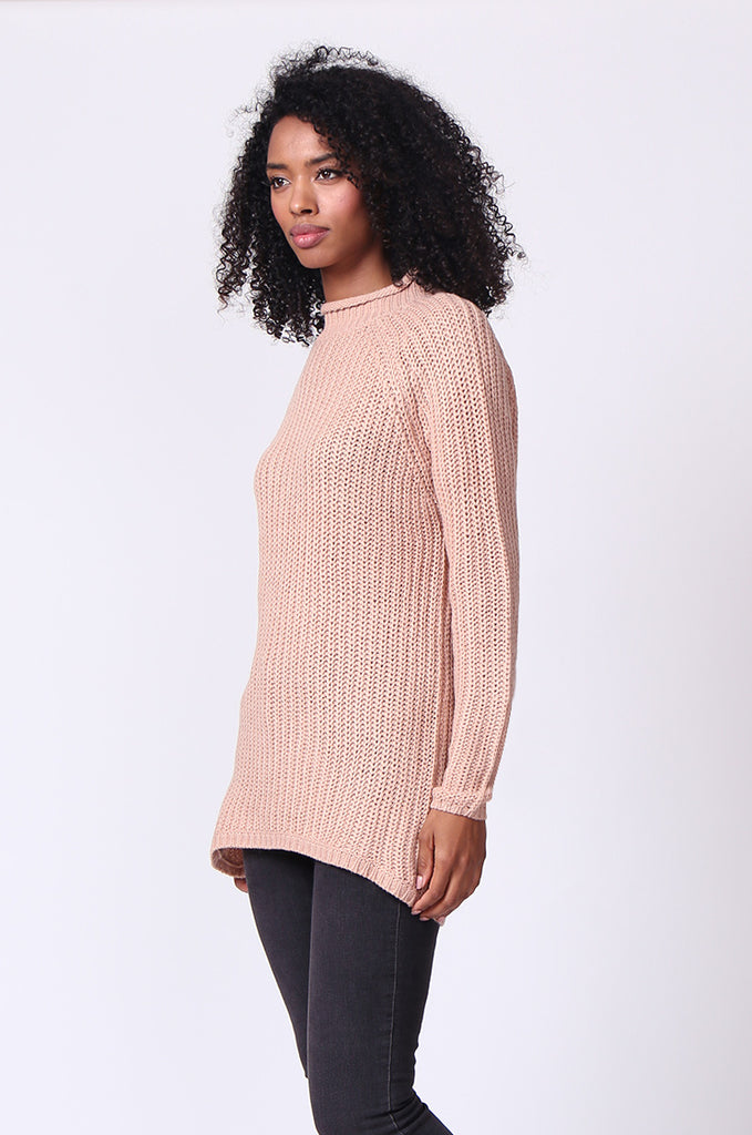 SF0234-TAN CHUNKY ROLL NECK JUMPER view 2