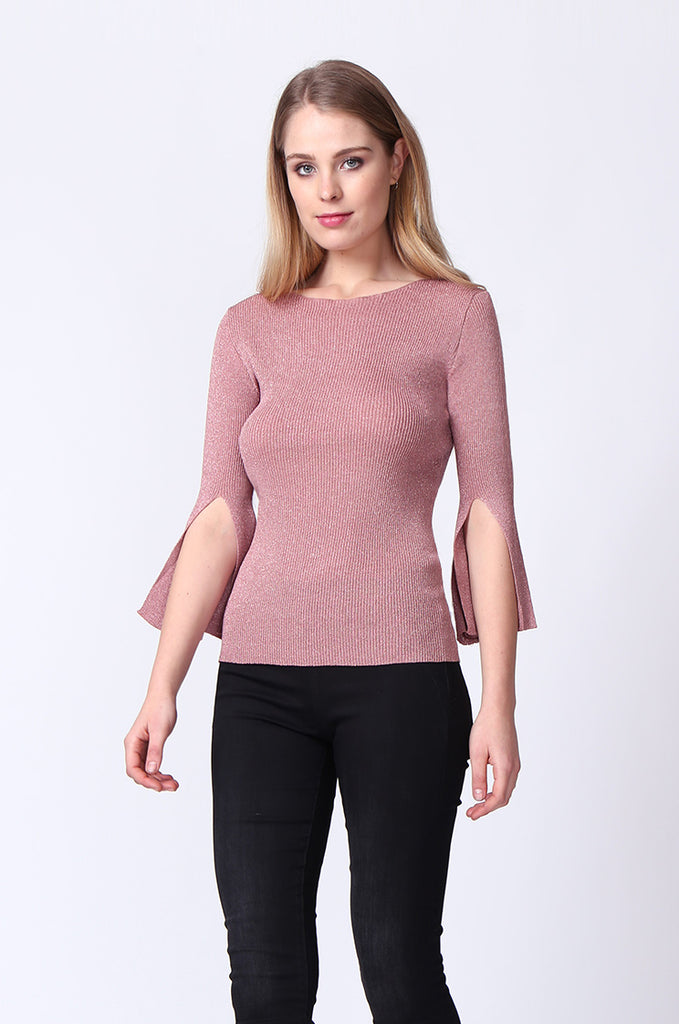 SJ0165-PINK METALLIC FLARE SLEEVE KNIT TOP view 2