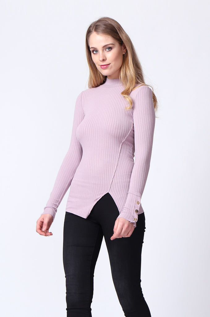 SJ0169-LILAC LONG SLEEVE MOCK NECK TOP view 2