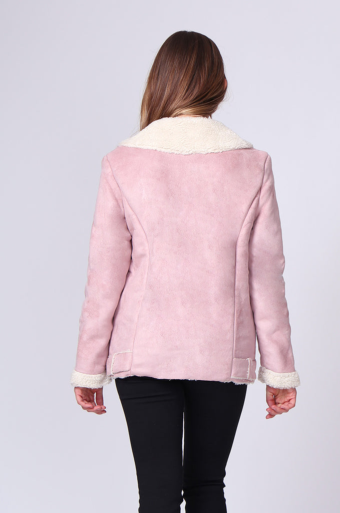 SD0194-PINK SUEDE LONG LINE SHERLING AVIATOR JACKET view 3