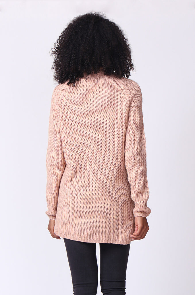SF0234-TAN CHUNKY ROLL NECK JUMPER view 3