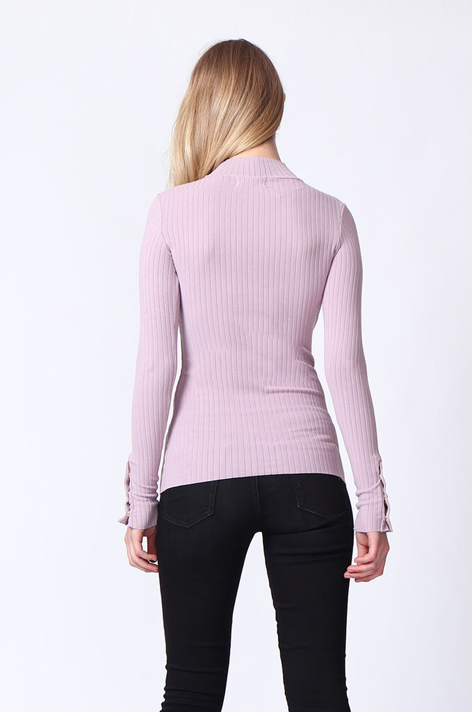 SJ0169-LILAC LONG SLEEVE MOCK NECK TOP view 3