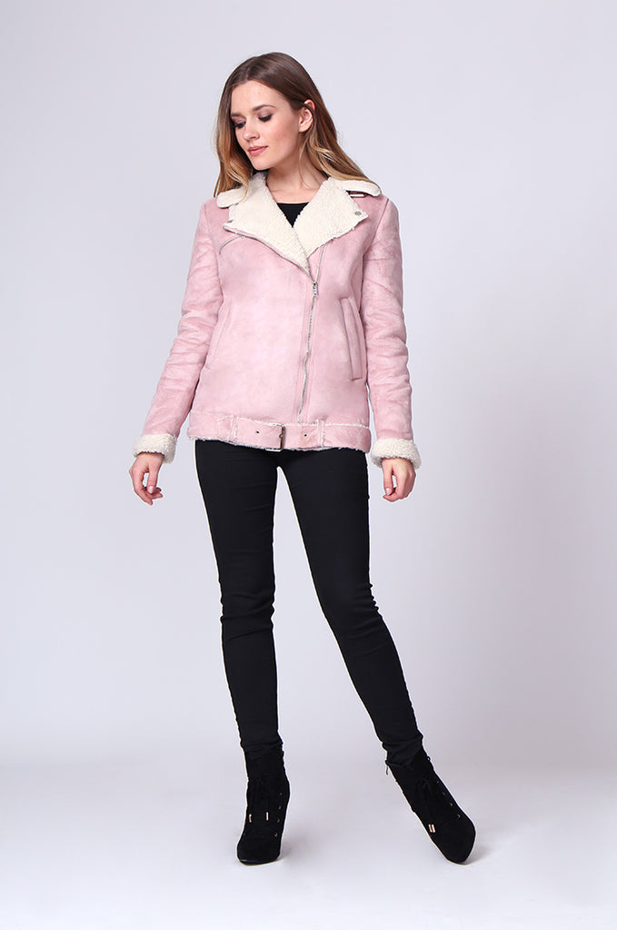 SD0194-PINK SUEDE LONG LINE SHERLING AVIATOR JACKET view 4