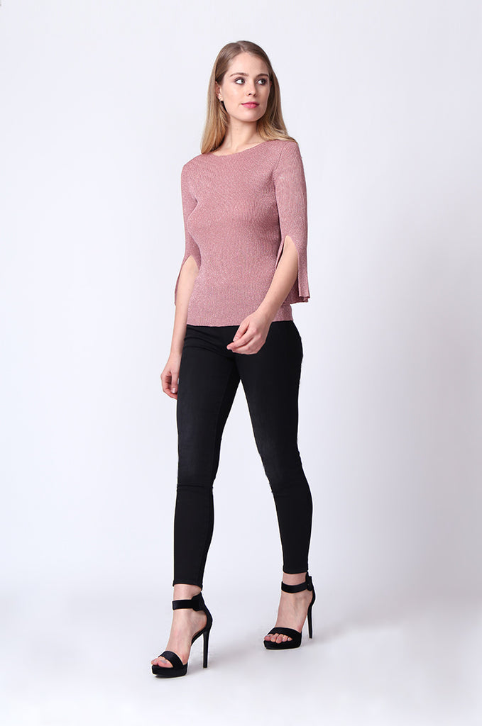 SJ0165-PINK METALLIC FLARE SLEEVE KNIT TOP view 4