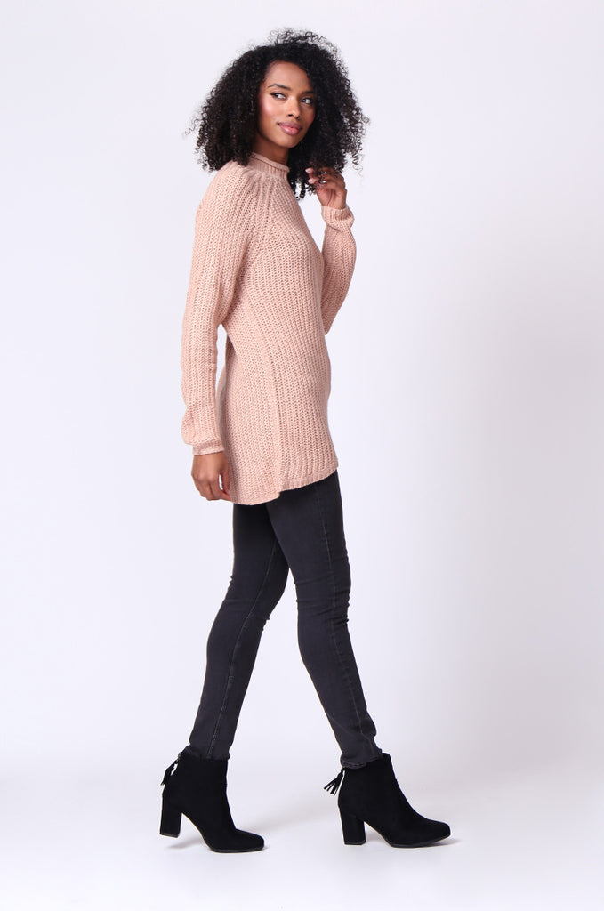 SF0234-TAN CHUNKY ROLL NECK JUMPER view 4
