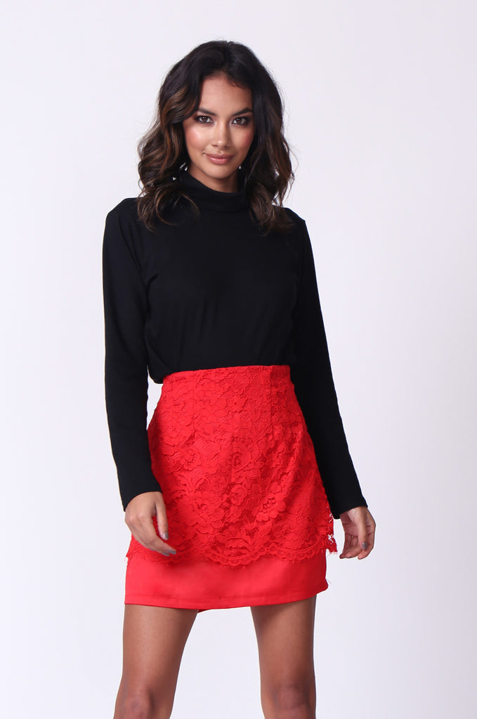 SP0121-RED LACE MINI SKIRT