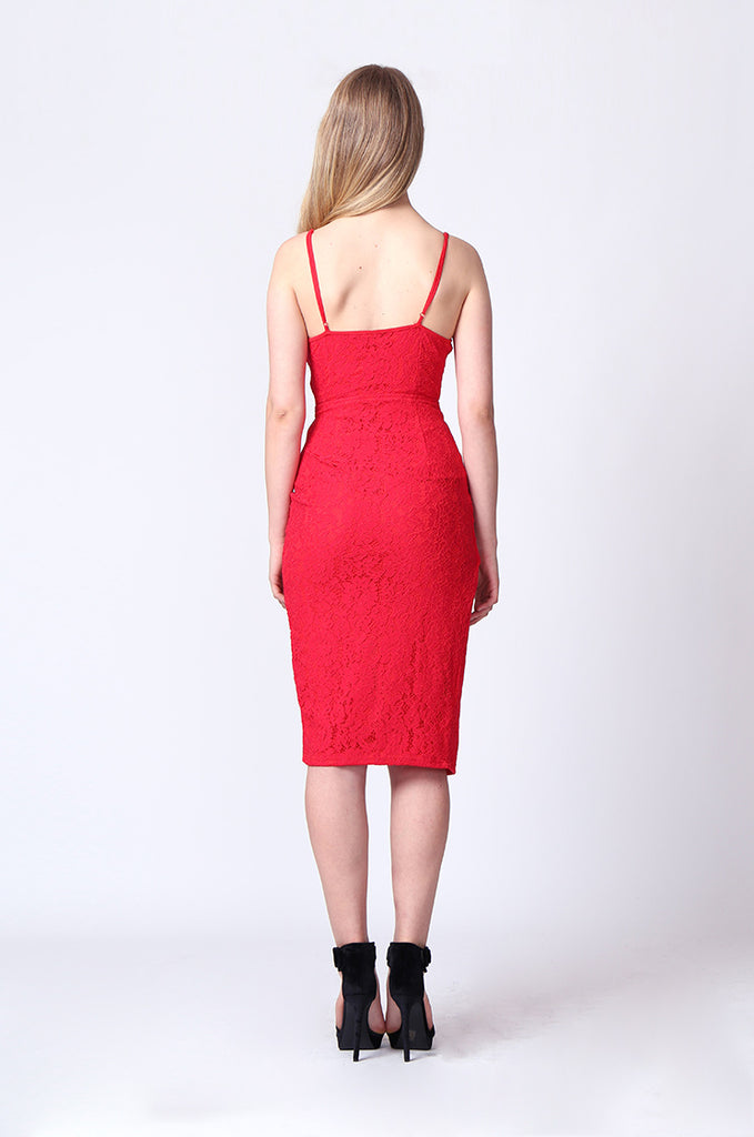 SPF0212-RED STRAPPY LACE SIDE SLIT MIDI DRESS view 3
