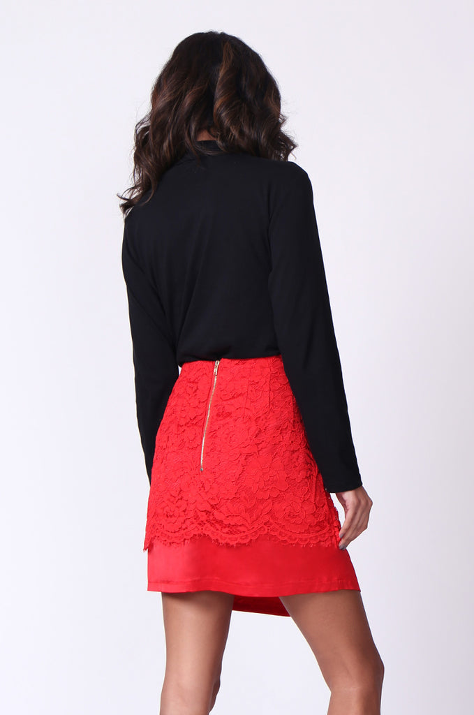 SP0121-RED LACE MINI SKIRT view 3