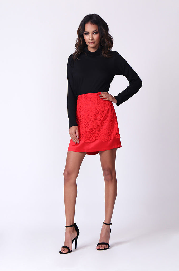 SP0121-RED LACE MINI SKIRT view 4