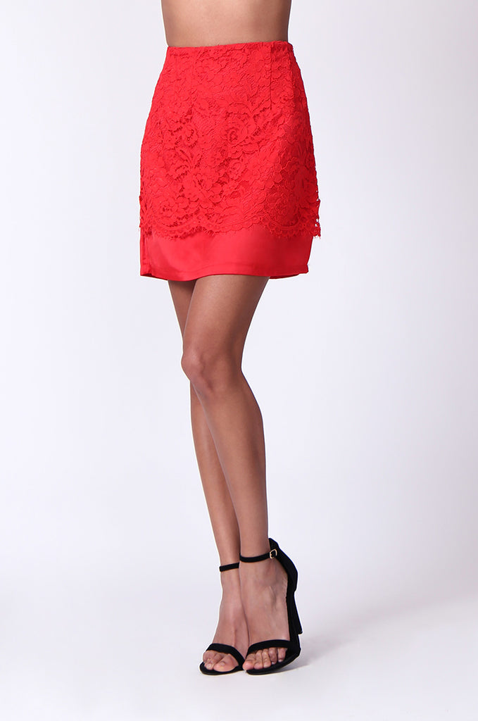 SP0121-RED LACE MINI SKIRT view 5
