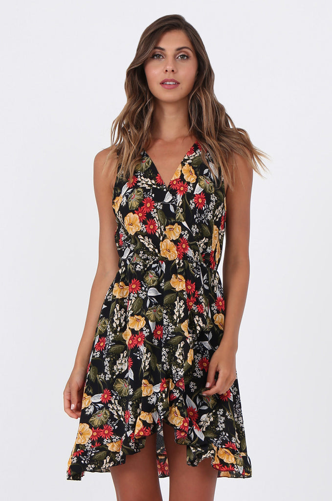 SAD1523-BLACK FLORAL FRILL WRAP STYLE DRESS view 2