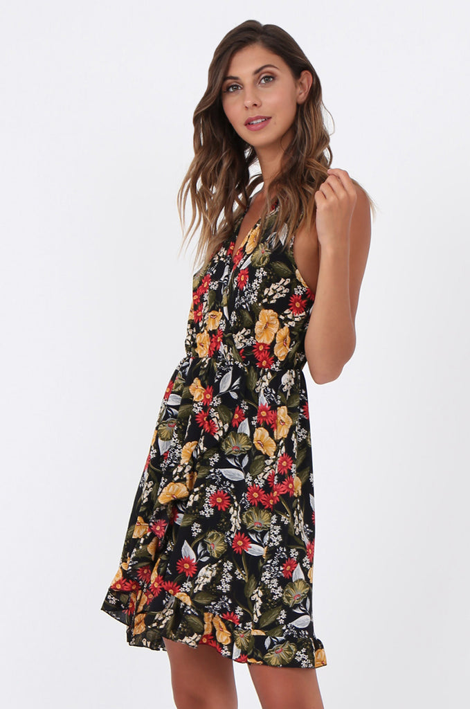 SAD1523-BLACK FLORAL FRILL WRAP STYLE DRESS view 3