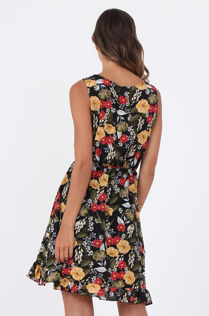 SAD1523-BLACK FLORAL FRILL WRAP STYLE DRESS view 4